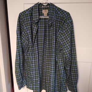 LL Bean Checkered Button Up